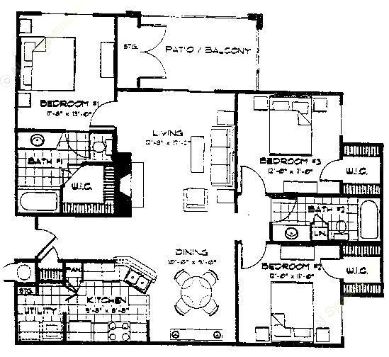 1,247 sq. ft. C1 floor plan