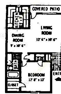 721 sq. ft. A1 floor plan