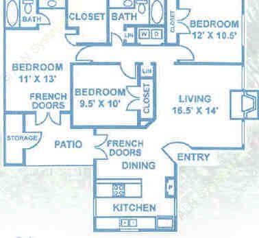 1,177 sq. ft. C1 floor plan