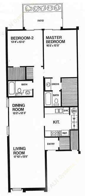 1,232 sq. ft. E floor plan