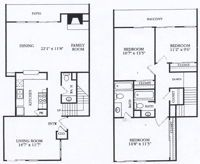 1,485 sq. ft. C4 floor plan