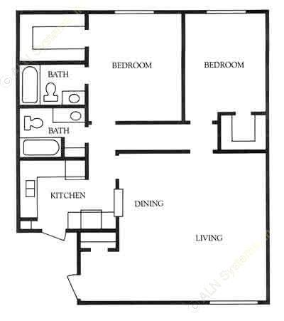1,100 sq. ft. B2 floor plan