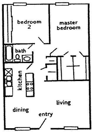 854 sq. ft. B1 floor plan
