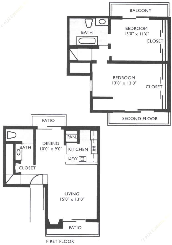 1,004 sq. ft. SB3 floor plan