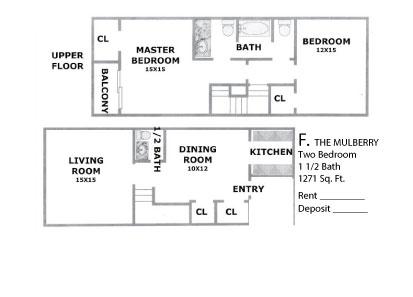 1,271 sq. ft. MULBERRY floor plan