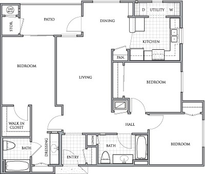 1,178 sq. ft. to 1,198 sq. ft. DERBY/60 floor plan