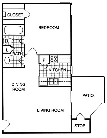 655 sq. ft. BM floor plan