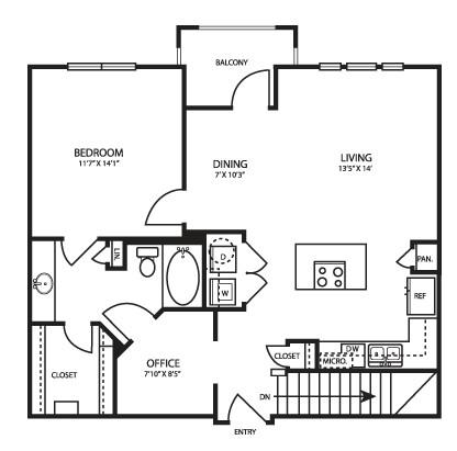 912 sq. ft. A4G2 floor plan