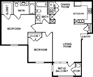 1,050 sq. ft. 50 floor plan