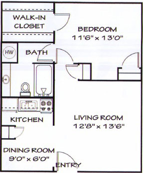 625 sq. ft. A3 floor plan