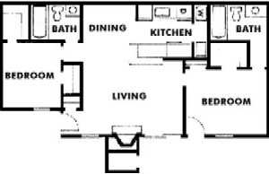 1,056 sq. ft. floor plan