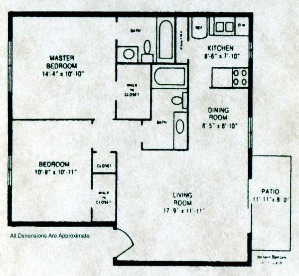 902 sq. ft. B-3 floor plan