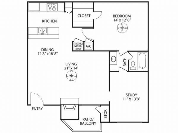 932 sq. ft. A-4 floor plan