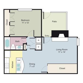 669 sq. ft. Tarbert floor plan