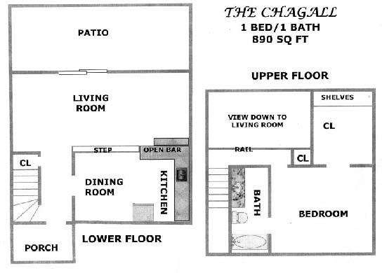 890 sq. ft. CHESTNUT floor plan