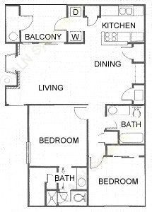 982 sq. ft. floor plan
