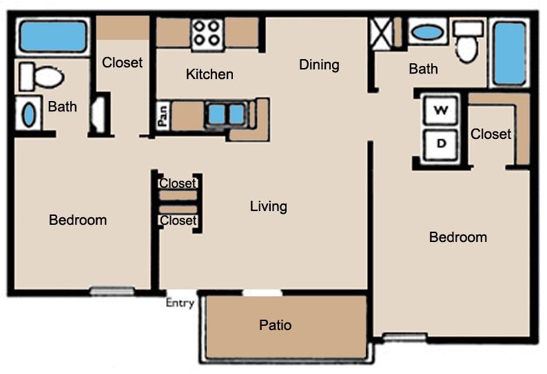 950 sq. ft. D1 floor plan