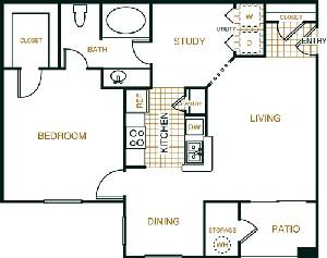 875 sq. ft. A2 floor plan