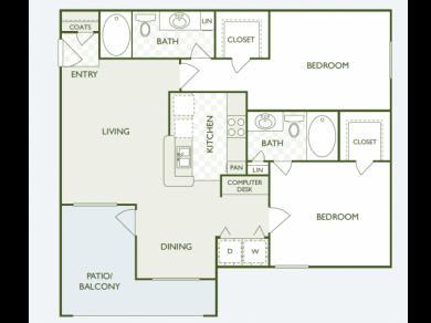 1,040 sq. ft. B1 floor plan
