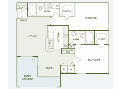 1,040 sq. ft. B1 floor plan