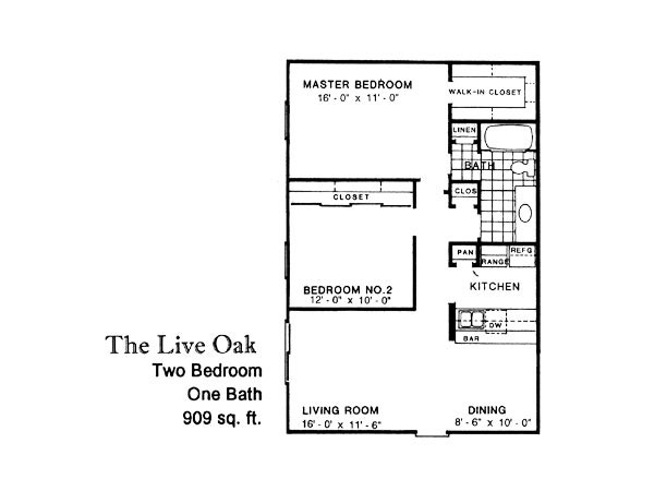 909 sq. ft. LIVE OAK floor plan