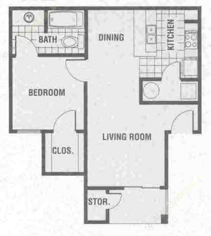 674 sq. ft. A1 floor plan