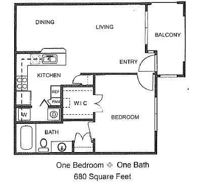 680 sq. ft. A/60% floor plan