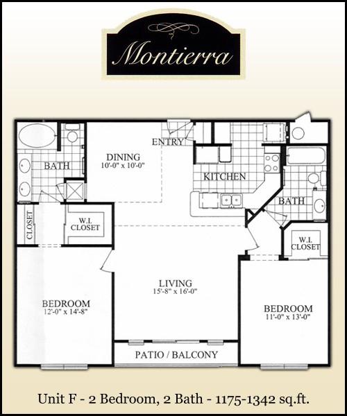 1,175 sq. ft. F1 floor plan