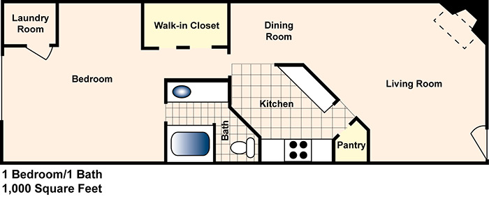 1,000 sq. ft. B floor plan