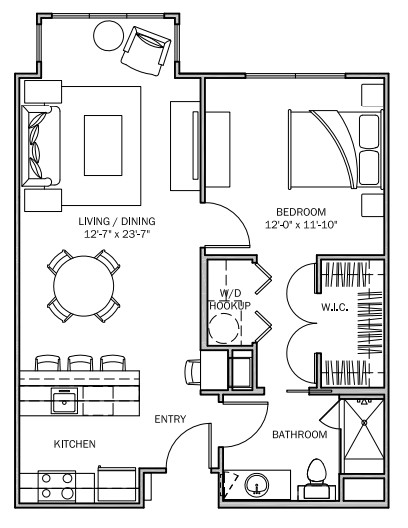 751 sq. ft. Primrose B 30% floor plan