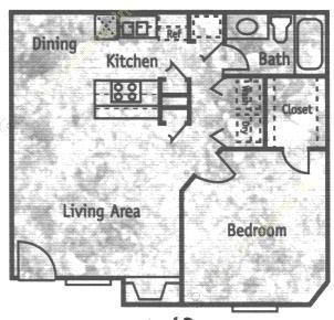 672 sq. ft. A2 floor plan
