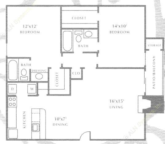 992 sq. ft. B4 floor plan