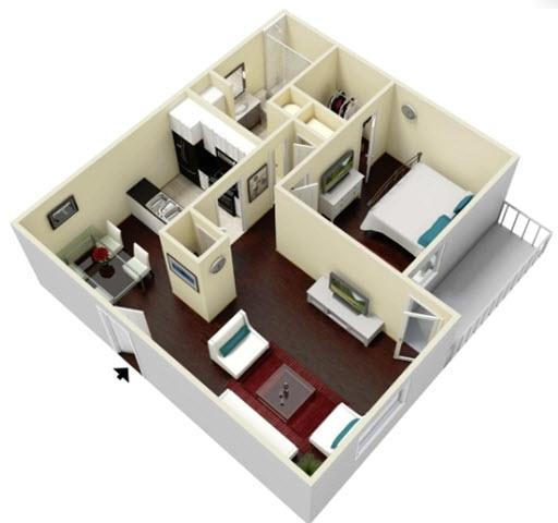 657 sq. ft. Palm floor plan