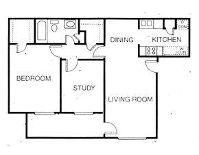 807 sq. ft. B1 floor plan
