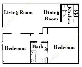 715 sq. ft. B1 floor plan