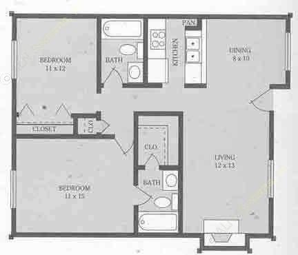 980 sq. ft. C floor plan