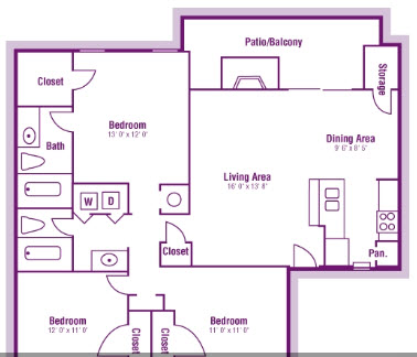 1,166 sq. ft. C1 floor plan