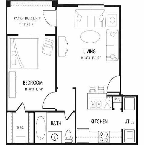 608 sq. ft. GARNET floor plan