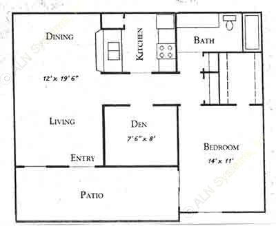743 sq. ft. A floor plan
