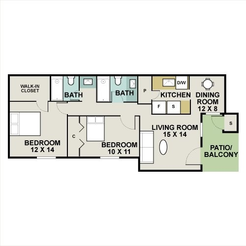 996 sq. ft. MAGNOLIA floor plan