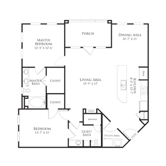 1,257 sq. ft. 2B1.2 floor plan