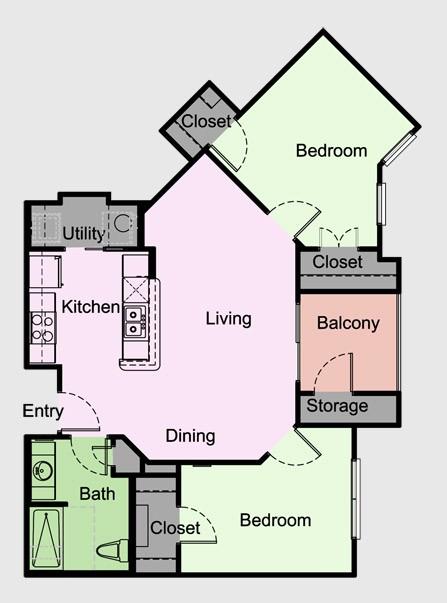 881 sq. ft. Manchester/A floor plan