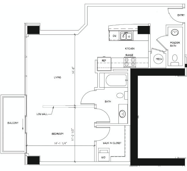 800 sq. ft. MICHELANGELO floor plan