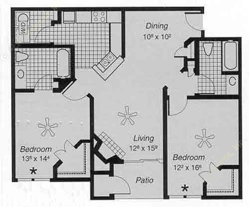1,070 sq. ft. II G floor plan