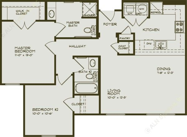 950 sq. ft. DEWBERRY/60 floor plan