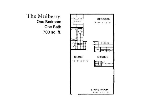 700 sq. ft. MULBERRY floor plan