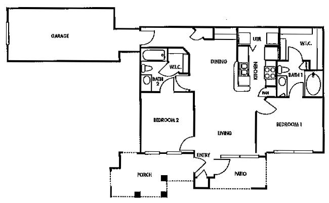 988 sq. ft. D1 floor plan