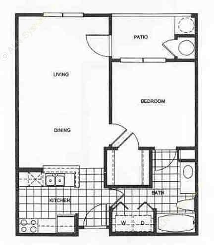650 sq. ft. Ashford floor plan