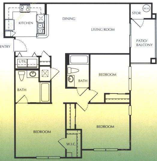 1,240 sq. ft. D/60 floor plan