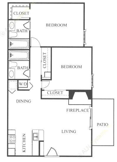 851 sq. ft. B1 floor plan